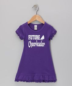 Take a look at this Purple 'Future Cheerleader' Dress - Infant, Toddler & Girls by Bourbon Street Boutique on #zulily today!