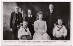 The royal children of George V & Mary Teck, June, 1912. Standing: Bertie (Duke of York), Henry (Duke of Gloucester) and David (Prince of Wales); Seated: Johnny, Mary (Princess Royal), and George (Duke of Kent)