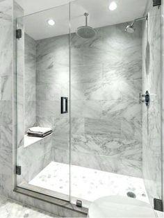 White subway tile bathroom inspiration tile shower 7 home Grey Bathrooms Designs, Bathroom Tile Designs, Bathroom Design Luxury, Bathroom Design Small, Modern Bathroom, Bathroom Grey, Gray Bathrooms, Gray And White Bathroom Ideas, Bathroom Hardware