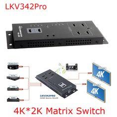buy lkv342pro 1080p 4kx2k hdmi wall mountable hdmi matrix 4x2 switch splitter4 in 2 out ir remote #hdmi #matrix #switch