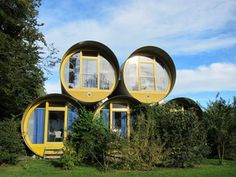 Hotel of recycled concrete tubes in Switzerland.On the shores of Lake of Thun