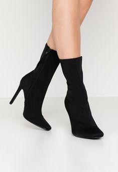 Missguided STILETTO SQUARE TOE SOCK BOOT - Bottines à talons hauts - black - ZALANDO.FR Zalando Shoes, Black Noir, Toe Socks, Missguided, Heels, Boots, Fashion, Ankle Boots, Leather