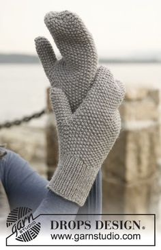 "Knitted DROPS mittens in ""Lima"". ~ DROPS Design"