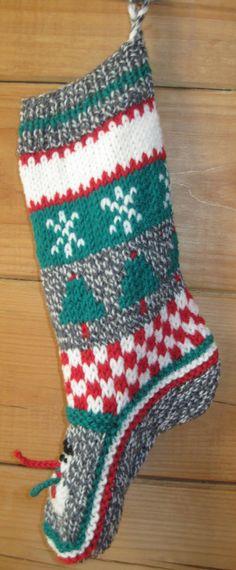 Hand Knit Christmas Stocking Wool Snowman Tree by knittingbydiane, $34.99