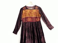 Bohemian Maxi Velvet Dress Small Medium by KheGreen on Etsy