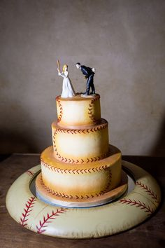 rustic baseball inspired three tier grooms cake with our baseball cake topper figurines http