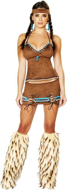 Sexy Native American Indian Babe Suede Look Halloween Costume Outfit Adult Women #Roma #CompleteCostume