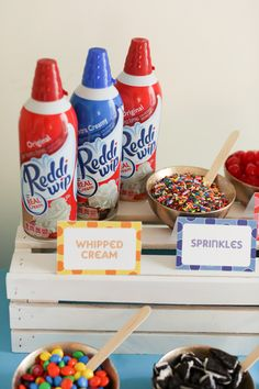 Get printable topping signs for your ice cream sundae party! @ConAgraFoods #reddiwip #sprinkles #icecream
