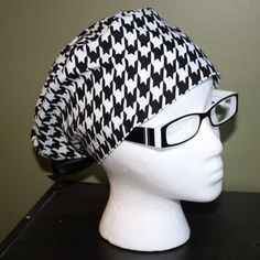 Houndstooth Surgical Scrub Hat by FourEyedCreations on Etsy, $15.00