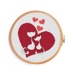 Love cats cross stitch pattern / Instant by PatternsCrossStitch, $3.00