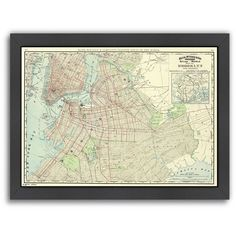 """Americanflat """"Brooklyn"""" Map Framed Wall Art ($130) ❤ liked on Polyvore featuring home, home decor, wall art, multicolor, vertical wall art, industrial home decor, map home decor, industrial wall art and colorful wall art"""