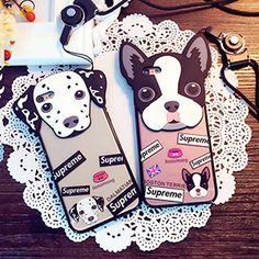 シュプリーム iphoneケース 犬 ネックストラップ付き iphone7 plus ケース supreme アイフォンケース 可愛い iphone7カバー パロディ風 iphone6s ケース SUPREMEブランド iphone6s plus カバー 芸能人愛用 お洒落