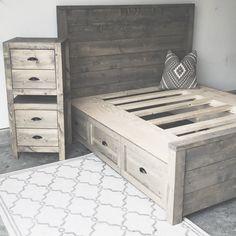 DIY storage bed and nightstand Oak + Stone