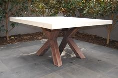 GRC SQUARE TABLE & CROSSED LEGS   Remarkable Furniture