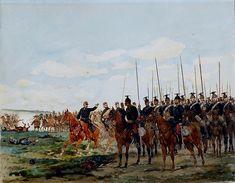 Escena de batalla con los lanceros franceses. Artista Edouard Detaille