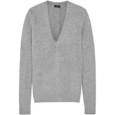 Joseph Button-detailed cashmere sweater (9 035 UAH) ❤ liked on Polyvore featuring tops, sweaters, grey, layered tops, grey v neck sweater, cashmere vneck sweater, cashmere tops and gray top