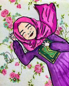 """""""Eğer Kur'ân okumuyorsan, bütün bunlar elbette boğacaktır seni. Daha nefes alıp vermeyi bile bilmiyorsun.""""  #cizim #ciziktiriklerim #illustration #illustrasyon #kuran #kuranikerim #quran #hijab #hijabanime"""