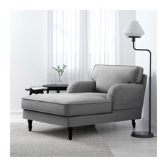STOCKSUND Chaise - Ljungen gray, black - IKEA