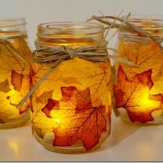 Fall Leaves Candle in a Jar Craft