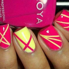 Yellow n pink - http://yournailart.com/yellow-n-pink/ - #nails #nail_art #nails_design #nail_ ideas #nail_polish #ideas #beauty #cute #love
