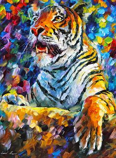 0094  Angry Tiger Print by Leonid Afremov