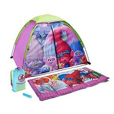 DreamWorks Trolls 4 Piece Kids Camp Kit  Play Tent Sleeping Bag Carry Sack  Flashlight *** Find out more about the great product at the image link.
