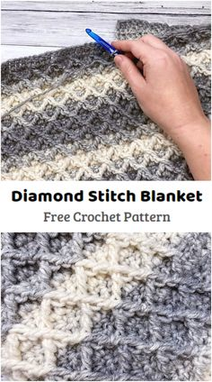 Crochet quick and easy Diamond Stitch Blanket. This pattern is written in two sizes and can be made in any size by chaining a multiple of 4. A lovely textured diamond stitch works up wonderfully in Lion Brand Scarfie yarn, a yarn with wonderful ombre effects. All Free Crochet, Learn To Crochet, Crochet Yarn, Single Crochet, Crochet Stitches, Crotchet, Crochet Blanket Patterns, Crochet Blankets, Crochet Ideas