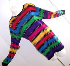 VTG 80's STRIPED Dolman Sweater Dress L EmO PUNK NEW Wave InDiE HIPSTER TUNIC