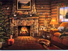 The Christmas Song-Nat King Cole with a cozy log cabin & fireplace to keep you warm Christmas Fireplace, Christmas Scenes, Cozy Christmas, Christmas Music, Christmas Images, Christmas Carol, Country Christmas, Vintage Christmas, Christmas Lights
