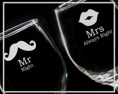 Mr Right and Mrs Always Right MUSTACHE MOUSTACHE LIPS 18 oz Wine Glasses - Gift for Groom, Bride, Mom, Wedding, Wife, Bridal Shower