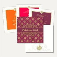 This card is made out of textured ivory (cream) paper board with matching mailing envelope and card front has traditional motifs printed on purple background with center space for Names printed on it customizable as per couple's name. Inserts have an option of three different colored borders with the same motif. #FeaturedWeddingCards