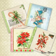 Digital Collage Sheet VINTAGE CHRISTMAS COASTERS  by TaniaDesign, $4.50