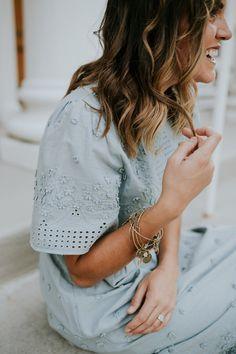 Blue Sage Embroidered Dress | ROOLEE