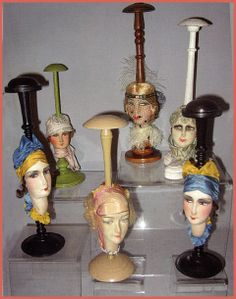 Hat stands with boudoir doll heads. Courtesy François Theimer. #millinery #judithm #hats