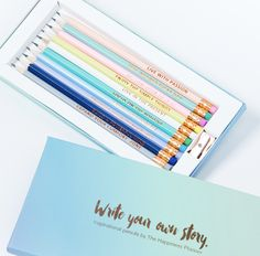 Inspirational Pencils Cute pencils with gold lettering of inspirational words designed by us. Each pencil comes with words to live by to help you feel positive and inspired every day. Middle School Supplies, Diy School Supplies, Art Supplies, Office Supplies, Cute Stationary, School Accessories, Journal Design, Word Design, Coloured Pencils