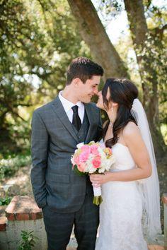 Sweet shot of the bride and groom | photo by @Amanda Driver via Bridal Musings