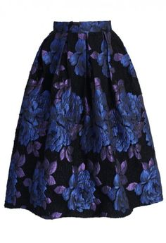 Phantom Roses Pleated Midi Skirt