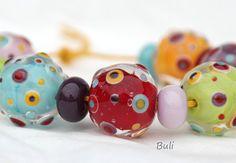 Handmade Lampwork Glass Beads Sets  Happy by BuliGlassBeads