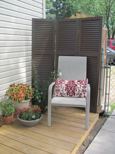 privacy created out of old shutters