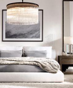 Спальня в  цветах:   Белый, Светло-серый, Серый, Бежевый.  Спальня в  стиле:   Минимализм.