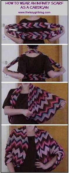 Como transformar um lenço em cardigan.