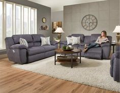 Franklin Furniture   Jensen 3 Piece Power Reclining Living Room Set In  Cobblestone   74646