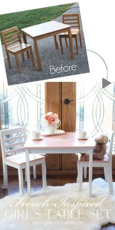Kids Table Redo, Paint Kids Table, Kid Table, Toddler Table And Chairs, Table And Chair Sets, Repurposed Furniture, Painted Furniture, Kids Furniture, Office Furniture