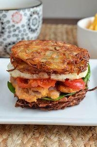 Slimming Eats Syn Free Hash Brown Breakfast Sandwich - gluten free, dairy free, vegetarian, Slimming World and Weight Watchers friendly