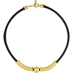 Sunstone Catherine Canino Leather 18k Goldplated Bead Collar Necklace... ($66) ❤ liked on Polyvore featuring jewelry, necklaces, beaded choker necklace, white pearl necklace, pearl choker necklace, toggle clasp necklace and cord necklace