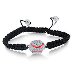 Shamballa Black Laced Bracelet with Silver Color 2D Baseball Paved in High Quality White CZ Stones and Two Hematite Balls  http://electmejewellery.com/jewelry/bracelets/strand/shamballa-black-laced-bracelet-with-silver-color-2d-baseball-paved-in-high-quality-white-cz-stones-and-two-hematite-balls-com/