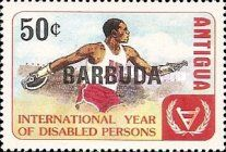 """[International Year of the Disabled - Antigua and Barbuda Postage Stamps Overprinted """"BARBUDA"""", type KL1]"""