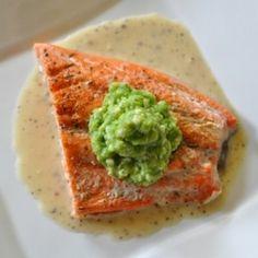 Roasted Salmon w/Pea Puree