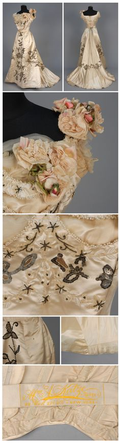 1900___ Evening Gown, satin having tulle insertion decorated with sequins and pearl beads, tulle. by Mme. Katze Robes.