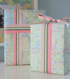 Wrap presents with maps. Ribbon colors look great w/map colors.